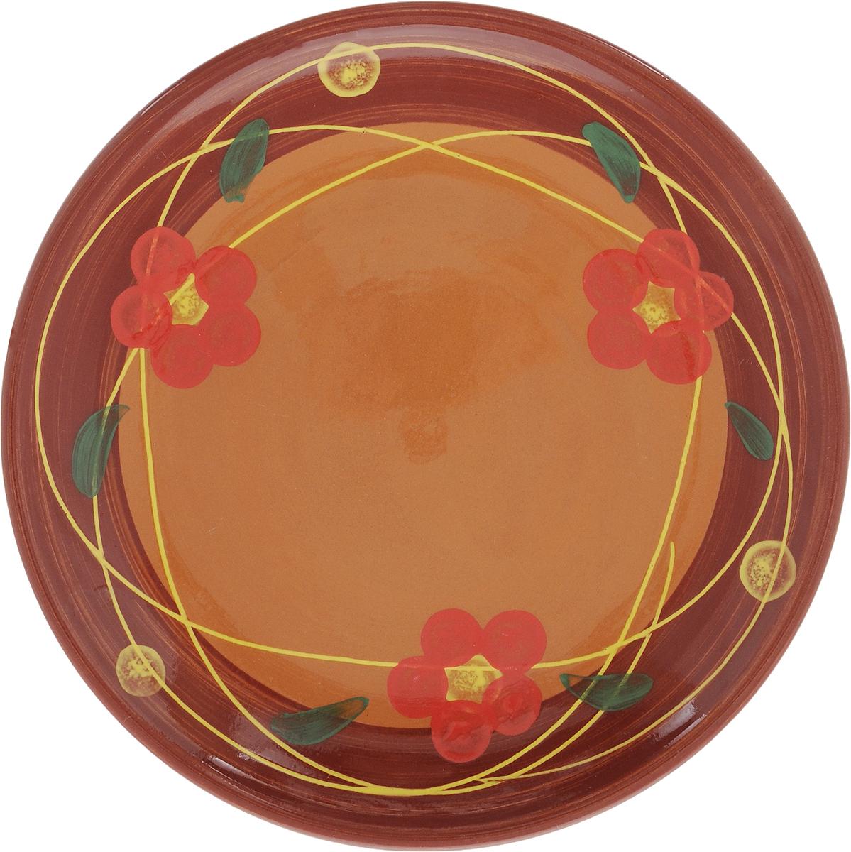 Тарелка Борисовская керамика Cтандарт, цвет: коричневый, красный, диаметр 23 смОБЧ00000586_коричневый, красныйТарелка плоская Cтандарт выполнена из высококачественной керамики. Внутренняя часть тарелки оформлена ярким рисунком с изображением цветка. Тарелка Борисовская керамика Cтандарт идеально подойдет для сервировки стола и станет отличным подарком к любому празднику. Изделие может использоваться как подставка под любую другую посуду. Можно использовать в духовке и микроволновой печи. Диаметр (по верхнему краю): 23 см.