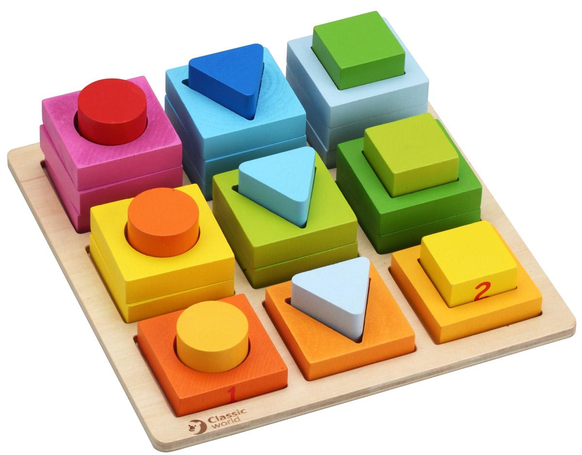 Classic World Сортер Геометрические блоки3538Сортер Classic World Геометрические блоки наглядно познакомит ребенка с понятиями формы, цвета и размера предметов, научит основам логики, сравнительного анализа и математики. Приятные на ощупь формы и фигурки изготовлены из качественно обработанного дерева, имеют идеально гладкую текстуру и окрашены безопасными красками. Сортер идеально подходит для игр малышей от трех лет. На основе Геометрических блоков родители могут проводить развивающие занятия для изучения таких понятий как анализ, сравнение, обобщение, классификация и помочь ребенку сделать первые шаги в математике. Игра развивает логическое и аналитическое мышление, творческие способности, а также восприятие, память, внимание и воображение.