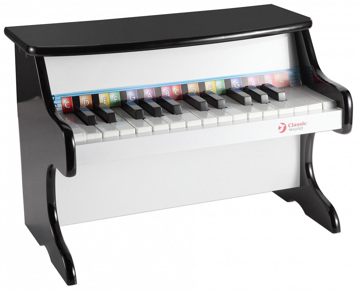 Classic World Пианино классическое2817Музыкальная игрушка Classic World Пианино не позволит скучать вашему малышу. Инструмент выполнен в классическом стиле из натурального дерева. Этот замечательный предмет может стать первым музыкальным инструментом, с которым ребенок сделает первые шаги в музыке. Ноты обозначены различными цветами, с их помощью можно изучить азы нотной грамоты и составить первые самостоятельные композиции. Стильное детское пианино станет яркой деталью интерьера детской комнаты и любимой игрушкой ребенка. Пианино способствует развитию умственных способностей, мелкой моторики и формирует чувство прекрасного.