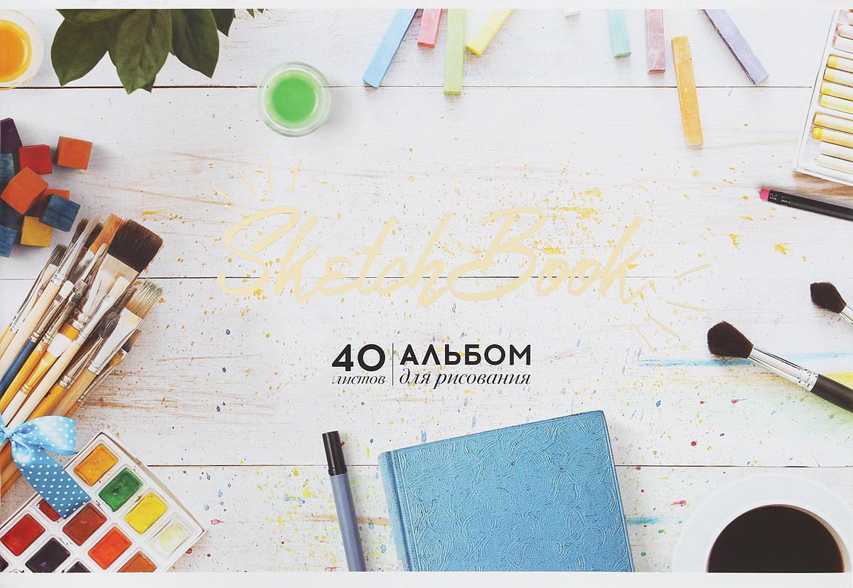 ArtSpace Альбом для рисования Sketch Book 40 листов цвет белыйА40Ф_9105_светлая обложка, кистиАльбом для рисования ArtSpace Sketch Book будет вдохновлять вашего ребенка на творческий процесс. Альбом изготовлен из белоснежной бумаги с яркой обложкой из плотного картона, оформленной золотым тиснением. Внутренний блок альбома состоит из 40 листов, соединенных двумя металлическими скрепками. Высокое качество бумаги позволяет рисовать в альбоме различными типами красок, фломастерами, цветными и чернографитными карандашами, гелевыми ручками. Занимаясь изобразительным творчеством, ребенок тренирует мелкую моторику рук, становится более усидчивым и спокойным.