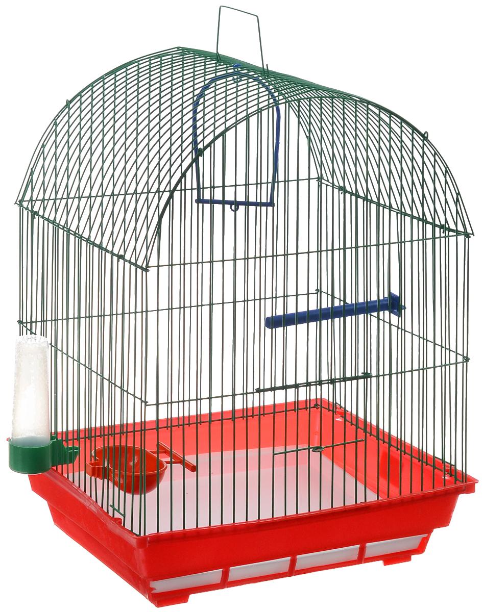 Клетка для птиц ЗооМарк, цвет: красный поддон, зеленая решетка, 35 х 28 х 44,5 см440КЗКлетка ЗооМарк, выполненная из полипропилена и металла с эмалированным покрытием, предназначена для мелких птиц. Изделие состоит из большого поддона и решетки. Клетка снабжена металлической дверцей. В основании клетки находится малый поддон. Клетка удобна в использовании и легко чистится. Она оснащена жердочкой, кольцом для птицы, поилкой, кормушкой и подвижной ручкой для удобной переноски.