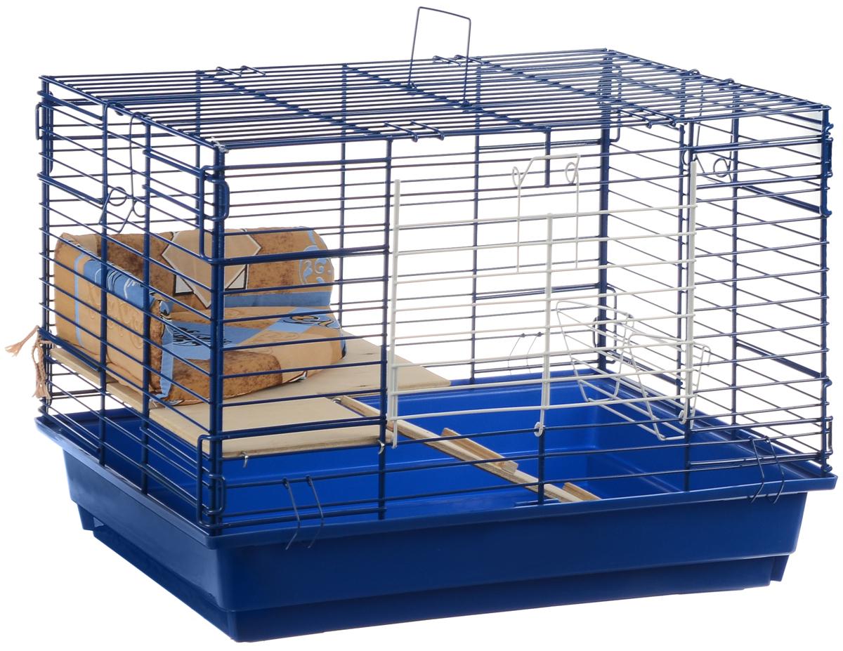 Клетка для кроликов ЗооМарк, 2-этажная, цвет: синий поддон, синяя решетка, 59 х 39 х 41 см650ССКлетка для кроликов ЗооМарк, выполненная из металла и пластика, предназначена для содержания вашего любимца. Клетка имеет прямоугольную форму, очень просторна, оснащена съемным поддоном. Она очень легко собирается и разбирается. Для удобства вашего питомца в клетке предусмотрен мягкий уголок, в котором кролик сможет отдохнуть. Такая клетка станет для вашего питомца уютным домиком и надежным убежищем.