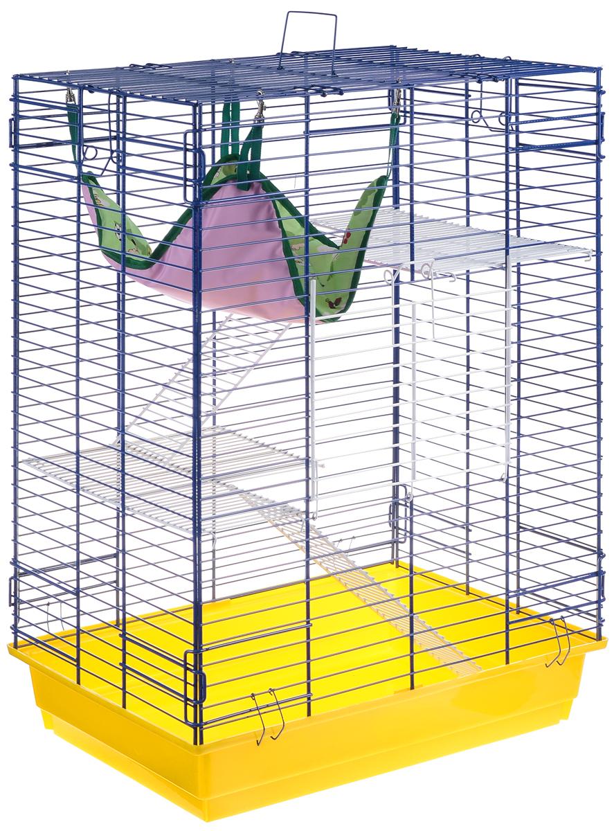 Клетка для шиншилл и хорьков ЗооМарк, цвет: желтый поддон, синяя решетка, 59 х 41 х 79 см. 725жк725жкЖСКлетка ЗооМарк, выполненная из полипропилена и металла, подходит для шиншилл и хорьков. Большая клетка оборудована длинными лестницами и гамаком. Изделие имеет яркий поддон, удобно в использовании и легко чистится. Сверху имеется ручка для переноски. Такая клетка станет уединенным личным пространством и уютным домиком для грызуна.