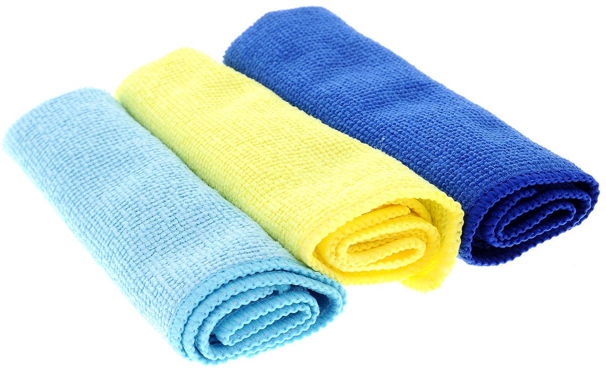 Набор салфеток для уборки Sol, из микрофибры, цвет: голубой, желтый, синий, 30 x 30 см, 3 шт10035_голубой, желтый, синийНабор салфеток Sol выполнен из микрофибры. Микрофибра - это ткань из тонких микроволокон, которая эффективно очищает поверхности благодаря капиллярному эффекту между ними. Такая салфетка может использоваться как для сухой, так и для влажной уборки. Деликатно очищает любые поверхности, не оставляя следов и разводов. Идеально подходит для протирки полированной мебели. Сохраняет свои свойства после стирки. Размер салфетки: 30 х 30 см.