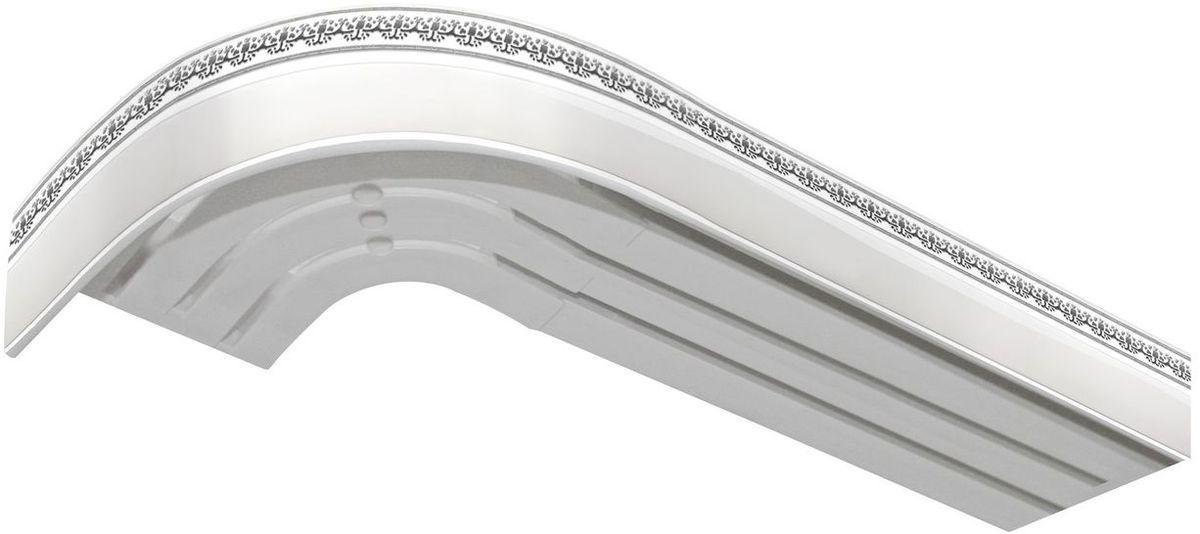 Багет Эскар Серебро Дамаск, цвет: белая подложка, серебристый, 5 см х 170 см2901121170Багет для карниза крепится к карнизным шинам. Благодаря багетному карнизу, от взора скрывается верхняя часть штор (шторная лента, крючки), тем самым придавая окну и интерьеру в целом изысканный вид и шарм. Вы можете выбрать багетные карнизы для штор среди широкого ассортимента багета Российского производства. У нас множество идей использования багета для Вашего интерьера, которые мы готовы воплотить! Грамотно подобранное оформление – ключ к превосходному результату!!!