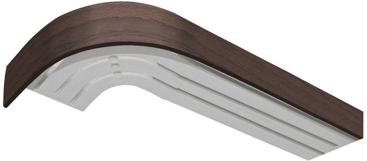 Багет Эскар, цвет: орех, 5 х 150 см29370150Багет Эскар представляет собой изготовленную из поливинилхлорида (ПВХ) полую пластину, применяющуюся как потолочный карниз. Багет для карниза крепится к карнизным шинам. Благодаря багетному карнизу, от взора скрывается верхняя часть штор (шторная лента, крючки), тем самым придавая окну и интерьеру в целом изысканный вид и шарм.