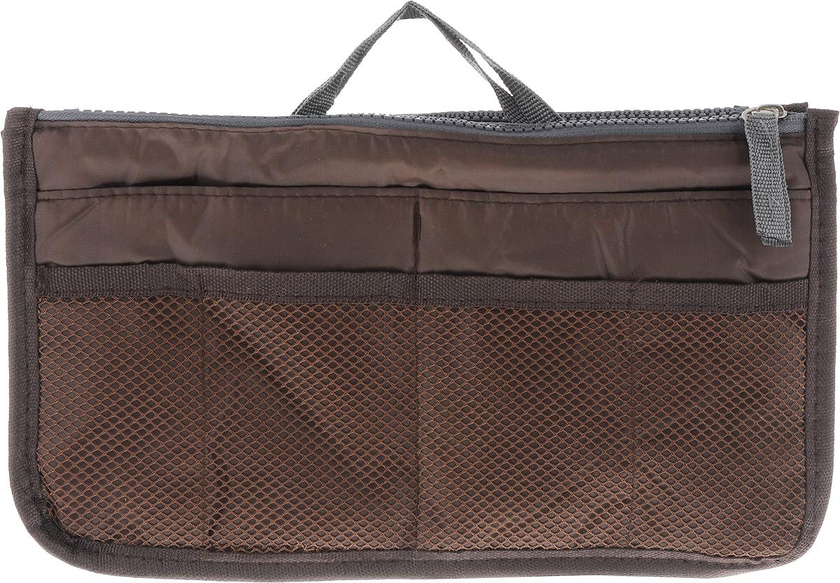 Органайзер для сумки Homsu, цвет: кофейный, 30 x 8,5 x 18,5 смHOM-143Органайзер для сумки Homsu выполнен из прочного текстиля. Этот органайзер для сумки имеет три вместительных отделения, два из которых на молнии, четыре кармашка по бокам и шесть сетчатых кармашков. Такой органайзер обеспечит полный порядок в вашей сумке. Данный аксессуар обладает быстрой регулировкой толщины с помощью кнопок. Органайзер оснащен двумя крепкими ручками, что позволяет применять его и вне сумки.