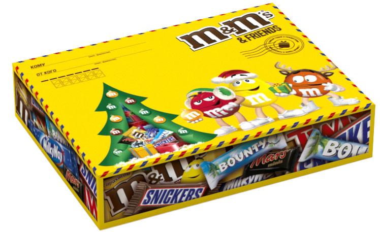 M&Ms and Friends Подарочный набор кондитерских изделий, 258 г10156423Новогодний набор M&Ms и Друзья - отличный подарок для родных, близких, детей и коллег! В наборе - только самые известные и любимые шоколадные батончики, конфеты и драже: Сникерс, Твикс, Баунти и, кончено же, M&Ms! Яркая упаковка дополняет этот разнообразный ассортимент и делает ваш подарок по-настоящему незабываемым!