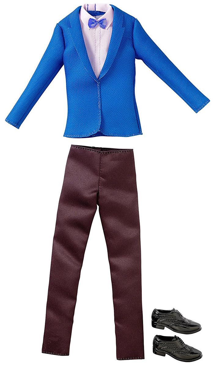 Barbie Одежда для Кена Пиджак и брюки цвет синий черный розовыйCFY02_DWG73Куклы-мальчики тоже любят менять наряды! Пора одеть Кена красиво и современно. В этом наборе имеется синий пиджак, из-под которого выглядывает розовая рубашка с галстуком-бабочкой. Пиджак застегивается сзади на липучки. Пиджак будет очень удобно носить с черными строгими брюками. Дополняют комплект стильные черные туфли. В процессе игры любая девочка с удовольствием будет наряжать куклу в новую одежду. Если собрать всю коллекцию одежды для Кена, можно будет подобрать наряды для самых разных сюжетов! Одежда подходит для большинства кукол Кен.