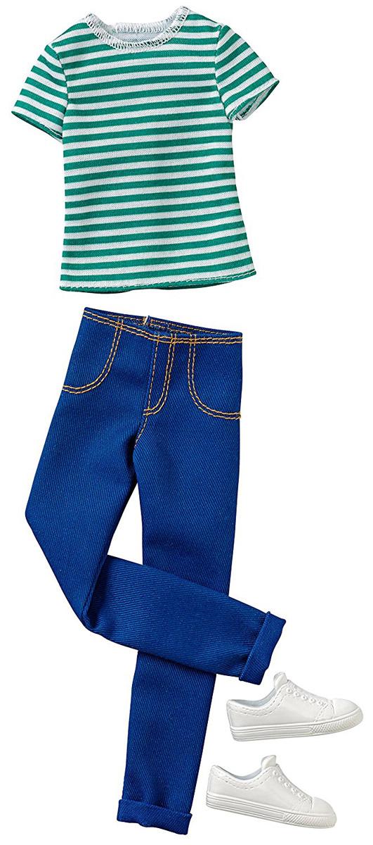 Barbie Одежда для Кена Футболка и брюки цвет зеленый синийCFY02_DWG75Куклы-мальчики тоже любят менять наряды! Пора одеть Кена красиво и современно. В этом наборе футболка и брюки для Кена. Футболка с короткими рукавами в бело-зеленую полоску застегивается сзади на липучки. Прямые синие брюки будут замечательно смотреться на красавце Кене. Дополняют комплект белые кроссовки. В процессе игры любая девочка с удовольствием будет наряжать куклу в новую одежду. Если собрать всю коллекцию одежды для Кена, можно будет подобрать наряды для самых разных сюжетов! Одежда подходит для большинства кукол Кен.