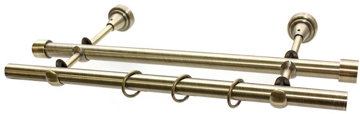 Карниз Эскар, комплектный, 2-х рядный, цвет: латунь, 19/19мм х 150 см9380019150Этот удобный 2-рядный карниз для штор и тюля изготовлен из металла. Минималистическое оформление позволяет перенести акцент на функциональные особенности изделия. В любом интерьере такой стильный карниз выглядит эффектно. Комплект также включает в себя кольца, торцевые заглушки, кронштейны и другие элементы для монтажа. Наконечники приобретаются отдельно.