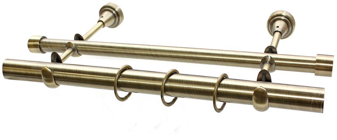 Карниз Эскар, комплектный, 2-х рядный, цвет: латунь, 25/16мм х 160 см9380025160Этот удобный 2-рядный карниз для штор и тюля изготовлен из металла. Минималистическое оформление позволяет перенести акцент на функциональные особенности изделия. В любом интерьере такой стильный карниз выглядит эффектно. Комплект также включает в себя кольца, торцевые заглушки, кронштейны и другие элементы для монтажа. Наконечники приобретаются отдельно.
