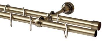 Карниз Эскар, комплектный, 2-х рядный, составной, цвет: латунь, 25/16мм х 320 см9380025320Этот удобный 2-рядный карниз для штор и тюля изготовлен из металла. Минималистическое оформление позволяет перенести акцент на функциональные особенности изделия. В любом интерьере такой стильный карниз выглядит эффектно. Комплект также включает в себя кольца, торцевые заглушки, кронштейны и другие элементы для монтажа. Наконечники приобретаются отдельно.