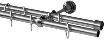 Карниз Эскар, комплектный, 2-х рядный, составной, цвет: матовый хром, 16/16мм х 320 см9390016320Этот удобный 2-рядный карниз для штор и тюля изготовлен из металла. Минималистическое оформление позволяет перенести акцент на функциональные особенности изделия. В любом интерьере такой стильный карниз выглядит эффектно. Комплект также включает в себя кольца, торцевые заглушки, кронштейны и другие элементы для монтажа. Наконечники приобретаются отдельно.