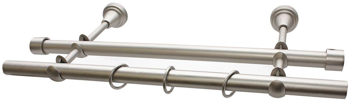Карниз Эскар, комплектный, 2-х рядный, цвет: матовый хром, 19/19мм х 150 см9390019150Этот удобный 2-рядный карниз для штор и тюля изготовлен из металла. Минималистическое оформление позволяет перенести акцент на функциональные особенности изделия. В любом интерьере такой стильный карниз выглядит эффектно. Комплект также включает в себя кольца, торцевые заглушки, кронштейны и другие элементы для монтажа. Наконечники приобретаются отдельно.