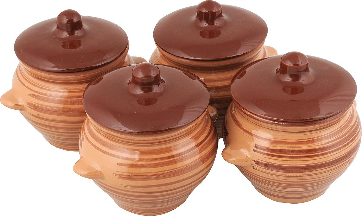 Набор горшочков для запекания Борисовская керамика Стандарт, с крышками, цвет: коричневый, 500 мл, 4 штОБЧ00000076_ коричневыйНабор Борисовская керамика Стандарт состоит из 4 горшочков для запекания с крышками. Каждый предмет набора выполнен из высококачественной керамики. Уникальные свойства красной глины и толстые стенки изделия обеспечивают эффект русской печи при приготовлении блюд. Блюда, приготовленные в керамическом горшке, получаются нежными и сочными. Вы сможете приготовить мясо, сделать томленые овощи и все это без капли масла. Это один из самых здоровых способов готовки. Можно использовать в духовке и микроволновой печи. Диаметр горшка (по верхнему краю): 9,5 см. Высота стенок: 10,4 см. Объем: 500 мл.