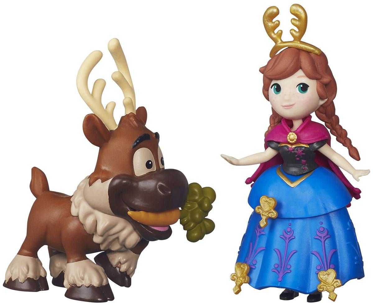 Disney Frozen Игровой набор Little Kingdom Анна и СвенB5187EU4_B5185Игровой набор Disney Frozen Анна и Свен поможет вашей маленькой принцессе окунуться в сказочный мир. Набор содержит очаровательную мини-куколку принцессу Анну и оленя Свена, героев замечательного мультфильма Холодное сердце. Кукла одета в черно-синее платье с бордовой накидкой. Одежда выполнена из мягкого пластика и легко снимается. В комплекте имеются аксессуары для украшения платья и ободок для волос. Ручки, ножки и голова у куколки подвижные. Фигурка оленя, также как и кукла имеет миниатюрные размеры, но достаточно хорошо детализирована. Свен с нетерпением ждет своего любимого лакомства - морковки! Ваша малышка с удовольствием будет играть с набором, придумывая различные истории или воспроизводя сценки из мультфильма.