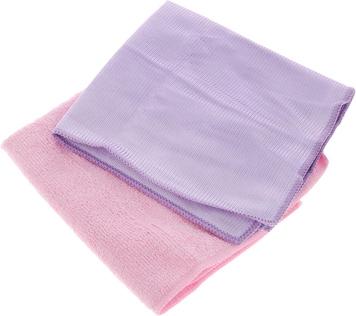 Салфетка Чистюля, цвет: сиреневый, розовый, 35 х 35 см, 2 штМФ011_сиреневый, розовыйСалфетка Чистюля выполнена из микрофибры (полиэстер и полиамид). Изделие отлично впитывает влагу, не оставляет разводов, быстро сохнет, сохраняет яркость цвета и не теряет форму даже после многократных стирок. Салфетка подходит для мытья окон и зеркал. Протертая поверхность становится идеально чистой, сухой и блестящей. Такая салфетка очень практична и неприхотлива в уходе. Размер салфетки: 35 х 35 см.