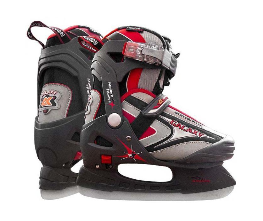 Коньки ледовые для мальчика, CK Galaxy, раздвижные, цвет: серый, черный, красный. Размер 32/35