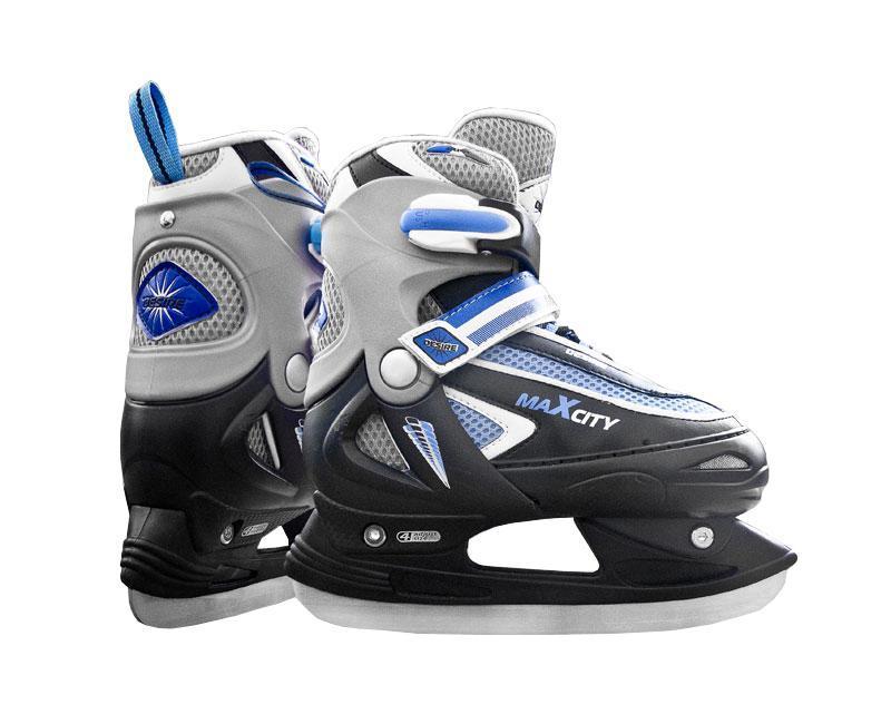 Коньки ледовые для мальчика MaxCity Desire Boy, раздвижные, цвет: синий, черный, серебряный. Размер 30/33CK Desire 2014Оригинальные детские раздвижные ледовые коньки от MaxCity с ударопрочной защитной конструкцией отлично подойдут для начинающих обучаться катанию. Ботинки изготовлены из комбинации морозостойкого пластика, который защитит ноги от ударов, искусственной кожи и текстиля. Пластиковая бакля с фиксатором, хлястик на липучке и шнуровка надежно фиксируют голеностоп. Внутренняя подкладка, выполненная из мягкого капровелюра, обеспечит тепло и комфорт во время катания. Фигурное лезвие изготовлено из нержавеющей стали со специальным покрытием, придающим дополнительную прочность. Изделие декорировано принтом и тиснением в виде логотипа бренда, также оригинальными нашивками из ПВХ и искусственной кожи. Задняя часть коньков дополнена ярлычком для более удобного надевания обуви. Особенностью коньков является раздвижная конструкция, которая позволяет увеличивать длину ботинка на 4 размера по мере роста ноги ребенка. У ботинка с боку имеется специальная кнопка, которая позволит увеличить...