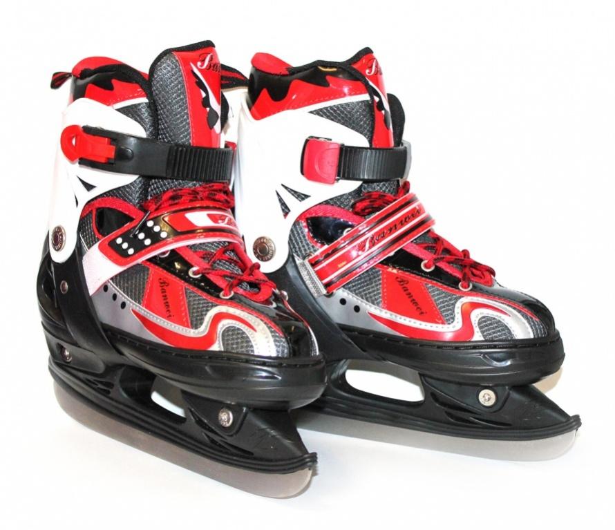 Коньки ледовые детские Bradex, раздвижные, цвет: черный, красный, серый. SF 0100. Размер 32/35SF 010Оригинальные коньки от Bradex с ударопрочной защитной конструкцией прекрасно подойдут для начинающих игроков в хоккей. Ботинки изготовлены из морозостойкого пластика, который защитит ноги от ударов. Пластиковая бакля с фиксатором, хлястик на липучке и шнуровка с фиксатором надежно фиксируют голеностоп. Внутренний сапожок, выполненный комбинации морозостойкой искусственной кожи и нейлона обеспечит тепло и комфорт во время катания. Берцы дополнены текстильной нашивкой. Фигурное лезвие изготовлено из нержавеющей стали со специальным покрытием, придающим дополнительную прочность. Изделие по верху декорировано оригинальным принтом и тиснением в виде логотипа бренда. Задняя часть коньков дополнена ярлычком для более удобного надевания обуви. При увеличении размерности, внутри ботинка отсутствует провал в районе смещения, благодаря точно установленной алюминиевой салазки. Во время увеличения размерности коньков происходит автоматическое увеличение и по полноте. Модель...
