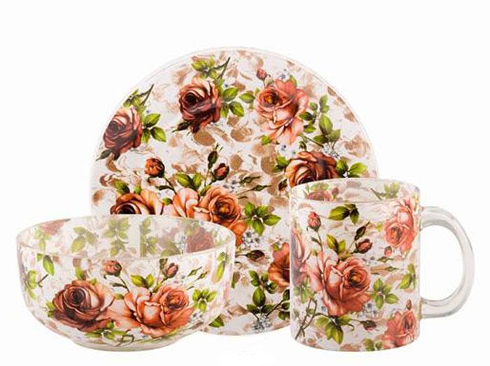Набор для завтрака Bekker Koch, Розы, 3 предметаBK-5821_розовый