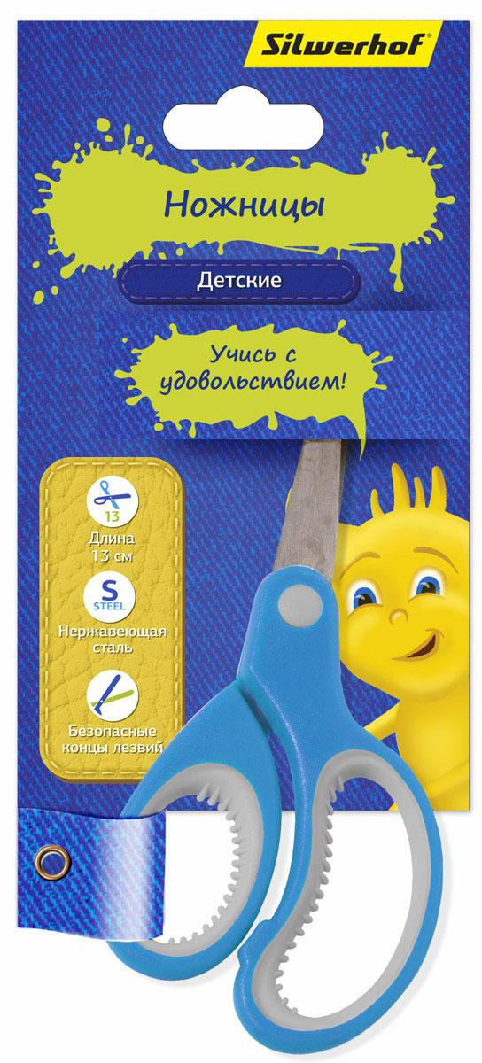 Silwerhof Ножницы детские Джинсовая коллекция цвет голубой453082Детские ножницы Silwerhof Джинсовая коллекция прекрасно подойдут для детского творчества. Лезвия выполнены из нержавеющей стали с закругленными концами, что делает процесс работы с ними безопасным для ребенка. Благодаря эргономичной форме пластиковых ручек модель отлично ложится как в детскую, так и во взрослую руку. Ножницы хорошо справляются с резкой бумаги, картона и станут незаменимым помощником в процессе создания аппликаций и других поделок.