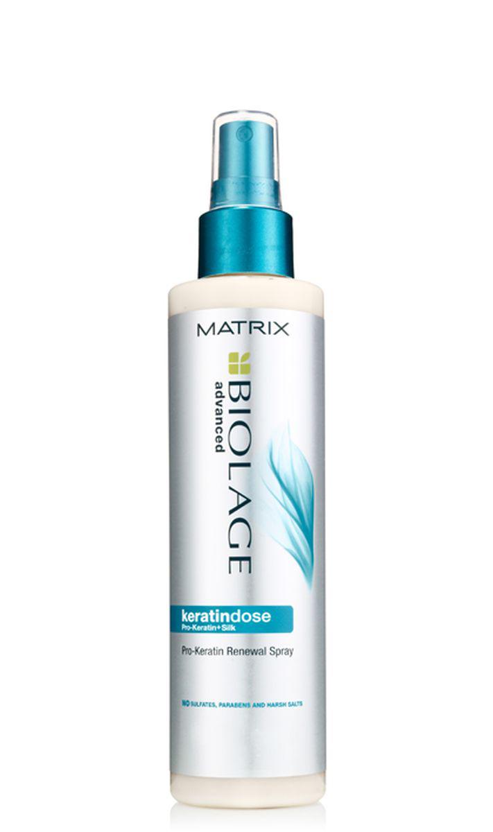 Matrix Biolage Keratindose несмываемый восстанавливающий спрей, 200 млP0676303После окрашивания, обесцвечивания, химической завивки или выпрямления волосы зачастую становятся жёсткими, непослушными и тусклыми. Несмываемый восстанавливающий спрей Biolage KERATINDOSE™ (Кератиндоз) с комплексом Pro-Keratin (Про-кератин) и экстрактом шелка обеспечивает точечное укрепление сильно повреждённых волос. Гамма Biolage KERATINDOSE™ глубоко питает и увлажняет волосы, делая их шелковистыми и послушными. На 90%* больше восстановления после первого использования. -Мгновенно придаёт волосам шелковистость и сияние, защищает волосы -Облегчает контроль над непослушными волосами -Формула без парабенов и сульфатов. *При использовании системы из Кератиндоз шампуня, кондиционера и несмываемого восстанавливающего спрея по сравнению с шампунем без кондиционирующих свойств.