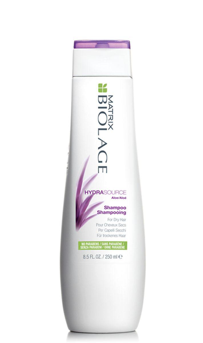 Matrix Biolage Hydrasource Шампунь 250млE0956600Сухие волосы склонны к ломкости и часто выглядят тускло и безжизненно. Шампунь Biolage HYDRASOURCE™ (ГидраСурс) с экстрактом алоэ питает волосы, помогая оптимизировать их гидробаланс, тем самым возвращая им здоровый вид. Волосы в 15 раз* более увлажненные после первого использования. - Облегчает расчесывание и делает волосы более послушными - Формула без парабенов - Подходит для окрашенных волос. * При использовании системы из шампуня, кондиционера и несмываемого спрея-вуаль ГИДРАСУРС по сравнению с шампунем без кондиционирующих свойств.