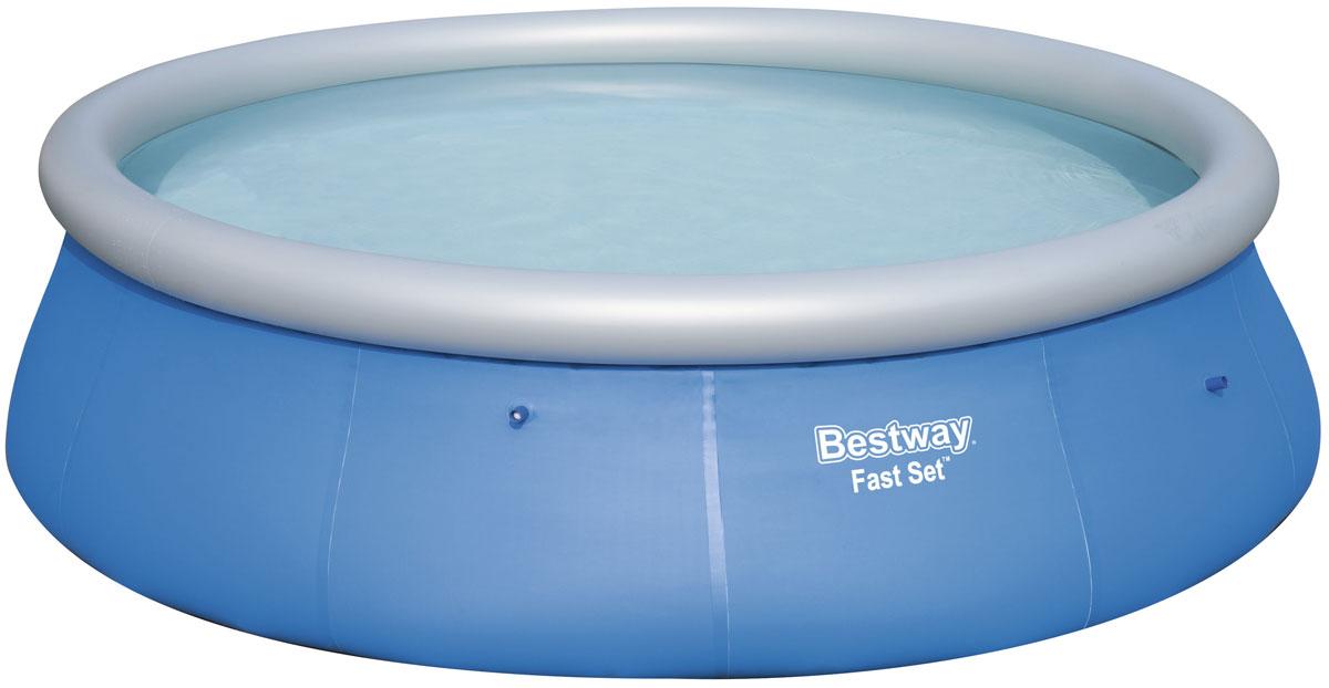 Bestway Бассейн с надувным бортом57319Надувной бассейн выполнен из высококачественного трехслойного ПВХ: два слоя плотного винила и один - полиэстер для особой прочности. Чаша поддерживается надувным кольцом. Для установки бассейна выберите ровную поверхность, надуйте верхнее кольцо, наполните бассейн водой и наслаждайтесь купанием. Не заполняйте бассейн водой больше чем на 80%. Размер: 396 х 84 см. Объем: 7340 л.