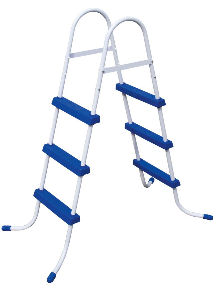 Лестница для бассейна Bestway, высота 107 см58335Лестница для бассейна Bestway выполнена из высококачественного металла, устойчивого к ржавчине. Ступеньки выполнены из прочного пластика с рельефным покрытием, предотвращающим скольжение. Лестница легко собирается, в разобранном виде не занимает много места. Высота лестницы (без учета поручней): 107 см.