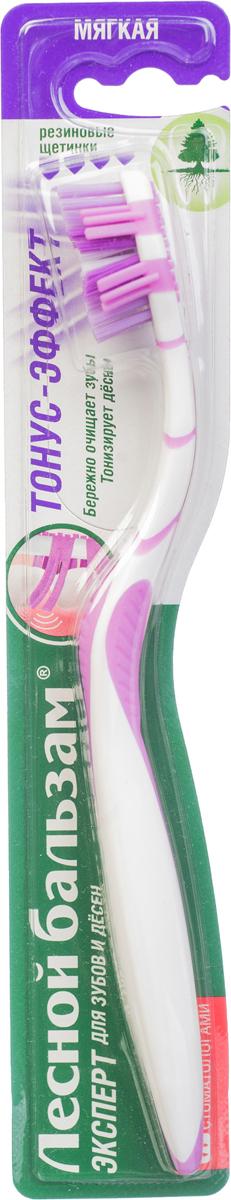 Лесной Бальзам Зубная щетка Тонус-эффект 1 шт1104729981Мягкие резиновые щетинки эффективно стимулируют кровообращение и тонизируют дёсны; V- образные щетинки, закругленные на конце, глубоко проникают в межзубные промежутки и бережно очищают зубной налёт; Эргономичный изгиб ручки позволяет эффективно очищать труднодоступные места;