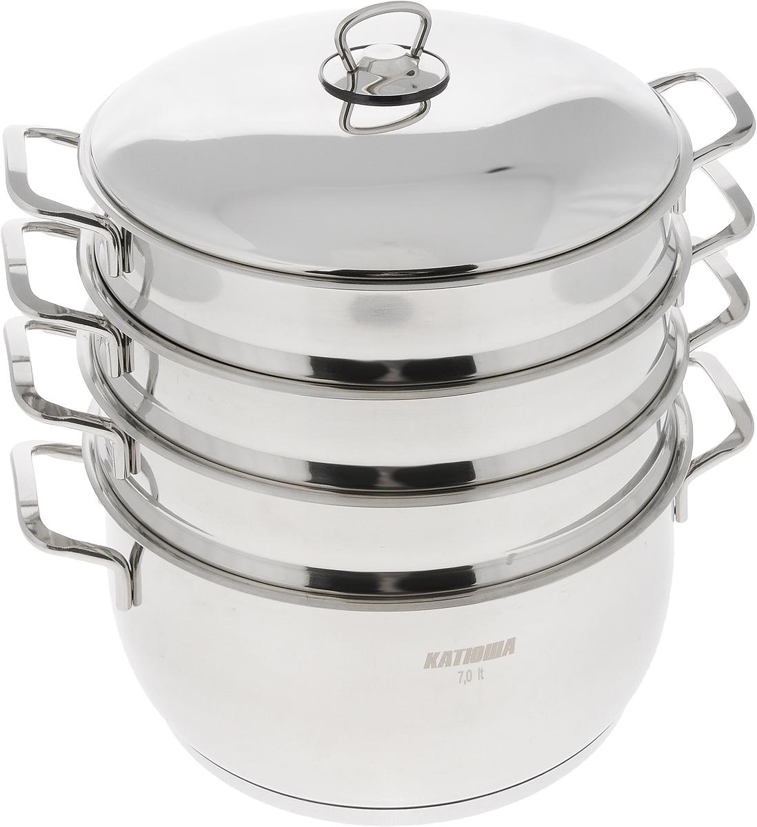 Мантоварка Катюша с крышкой, 3-уровневая, 7 лС70Мантоварка Катюша изготовлена из нержавеющей стали, что делает посуду износостойкой, прочной и практичной. Глубина уровней изделия, диаметр отверстий и объем специально предназначены для приготовления мантов. В мантоварке также можно готовить и другие блюда: овощи, котлеты или пельмени. Готовить на пару очень просто, продукты не пригорают и не склеиваются, а готовое блюдо выходит рассыпчатым и ароматным. Питательные элементы и витамины не растворяются в воде, а остаются в продуктах. Еда получается не только полезной, но и по-настоящему вкусной. Нижнюю часть манотоварки можно использовать как казан. Казаном принято называть большую кастрюлю толстыми стенками и выпуклым овальным дном. В казане можно приготовить много самых разнообразнейших блюд восточной кухни, но, наверное, самое известное и распространенное блюдо, которое приготавливается в казане, это любимый многими плов. Подходит для газовых и электрических плит. Внутренний диаметр...