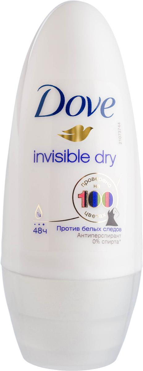 Dove Антиперспирант ролл Невидимый 50 мл21132326Антиперсипрант Dove Невидимый - обеспечивает защиту от пота на 48 часов и на 1/4 состоит из особенного увлажняющего крема, который способствует восстановлению кожи после бритья, делая ее более гладкой и нежной - благодаря рецептуре с полупрозрачными микрочастицами способствует защите от белых следов