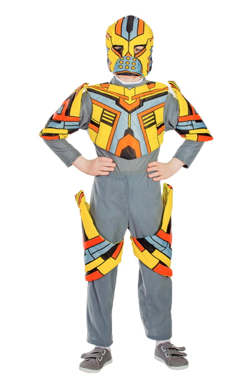 Карнавалия Карнавальный костюм для мальчика Трансформер цвет серый желтый оранжевый размер 13485065Карнавальный костюм Карнавалия Трансформер подойдет для игры в супергероев. В нем мальчишка почувствует себя отважным трансформером, что поможет вжиться в образ, прекрасно преодолевать все препятствия и ничего не бояться. Хорошее настроение и масса положительных эмоций с таким костюмом обеспечены. Благодаря высококачественным материалам, которые использовались при пошиве костюма, за ним легко ухаживать, и он сохранит первозданный вид на долгие годы. В комплект входят маска, комбинезон и накидка. Рост ребенка - 134 см. Материал: 100% полиэстер. Длина комбинезона по спинке - 35 см, длина по внутреннему шву брючин комбинезона - 54 см. Диаметр шапочки - 24 см.