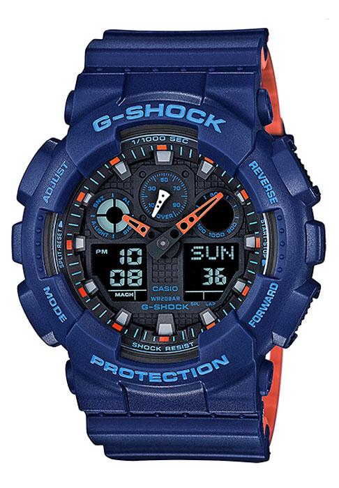 Часы наручные мужские Casio G-Shock, цвет: синий, оранжевый. GA-100L-2AGA-100L-2AКомбинированные стрелочные + электронные