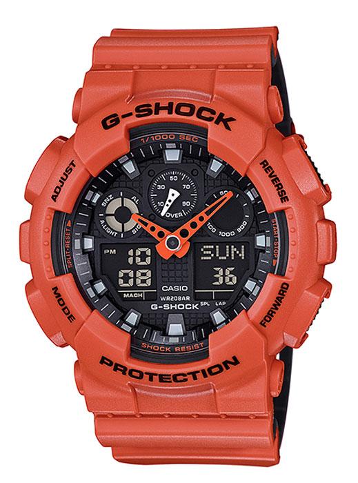 Часы наручные мужские Casio G-Shock, цвет: оранжевый, черный. GA-100L-4AGA-100L-4AКомбинированные стрелочные + электронные