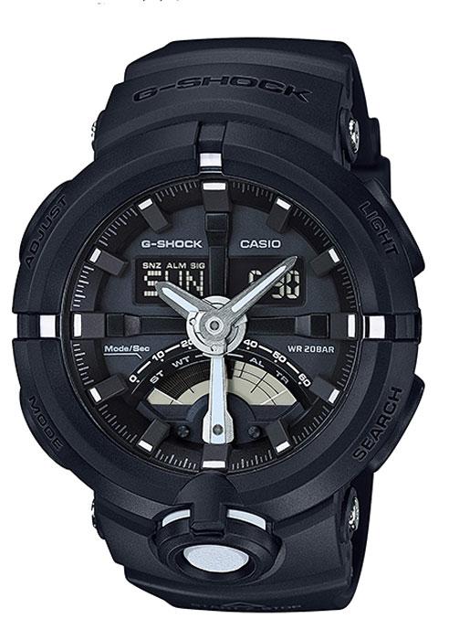 Часы наручные мужские Casio G-Shock, цвет: черный. GA-500-1AGA-500-1AКомбинированные стрелочные + электронные