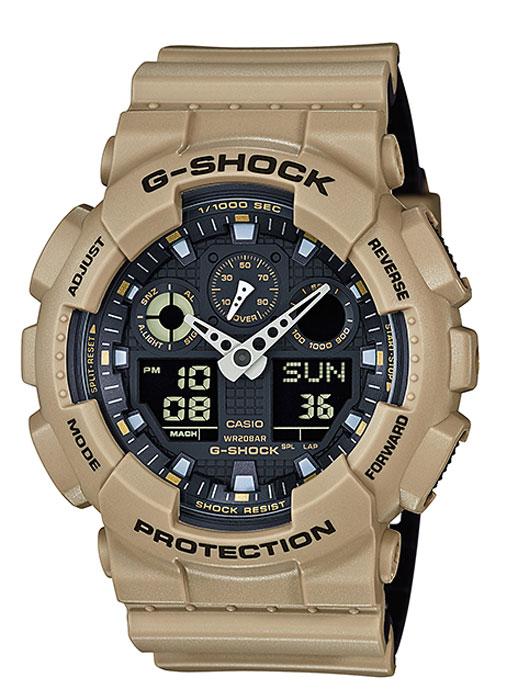 Часы наручные мужские Casio G-Shock, цвет: бежевый, черный. GA-100L-8AGA-100L-8AКомбинированные стрелочные + электронные