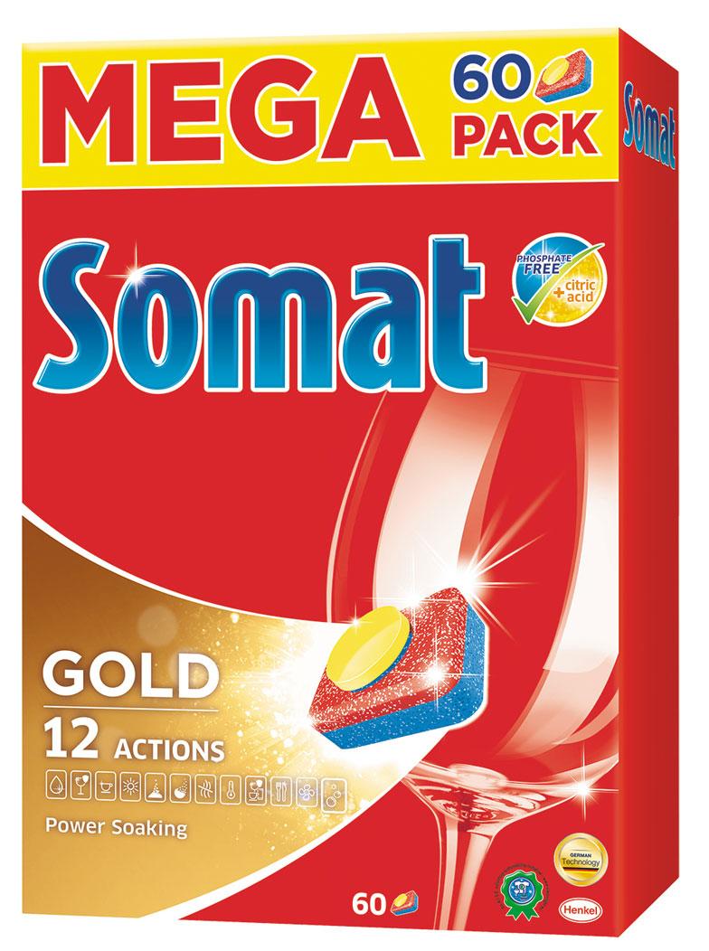Таблетки для посудомоечной машины Somat Gold, 60 шт935264Сомат Голд с миллионом активных частиц обеспечивает безупречный результат, легко справляясь с грязью и жиром и устраняя засохшие остатки пищи, как если бы вы предварительно замачивали и опласкивали посуду и включает следующие функции: Очиститель - для великолепной чистоты. Функция ополаскивателя - для сияющего блеска. Функция соли - для защиты посуды и стекла от известкового налета. Удаление пятен от чая. Защита посудомоечной машины против известковых отложений. Активная формула Эффект замачивания помогает устранить засохшие остатки пищи. Защита против коррозии стекла. Блеск нержавеющей стали и столовых приборов. Обеспечивает гигиеническую чистоту.