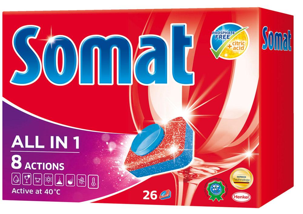 Таблетки для посудомоечной машины Somat, 26 шт935248Сомат Все-в-1 с активной формулой обеспечивает кристальную чистоту и сияющий блеск вашей посуде и включает следующие функции: Очиститель - для великолепной чистоты. Функция ополаскивателя - для сияющего блеска. Функция соли - для защиты посуды и стекла от известкового налета. Удаление пятен от чая. Защита посудомоечной машины против известковых отложений. Функция замачивания - эффективен как при замачивании Активная формула Пауэр Бустер помогает устранить засохшие остатки пищи.