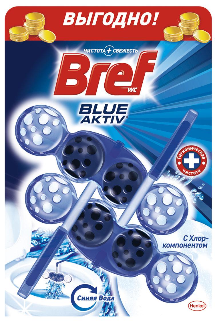 Чистящее средство для унитаза Bref Blue-Aktiv с Хлор-компонентом 2х50г935247Чистящее средство для унитаза Bref Blue-Aktiv с Хлор-компонентом - это подвесной туалетный блок с формулой 4 в 1, который обеспечивает: 1. Гигиеническую чистоту 2. Защиту от известкового налета 3. Свежесть 4. Обильную пену Двойная упаковка Bref Сила-Актив - выгодное предложение! Освободите корзинку от упаковки. Повесьте Bref Сила-Актив под ободок Вашего унитаза. Состав: >30% анионные ПАВ, Товар сертифицирован.