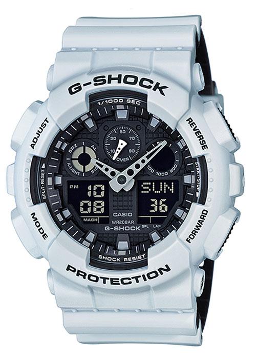 Часы наручные мужские Casio G-Shock, цвет: белый, черный. GA-100L-7AGA-100L-7AКомбинированные стрелочные + электронные