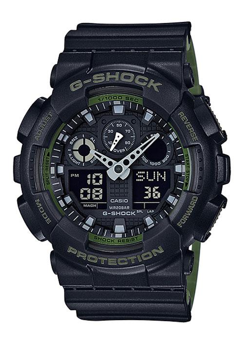 Часы наручные мужские Casio G-Shock, цвет: черный, хаки. GA-100L-1AGA-100L-1AКомбинированные стрелочные + электронные