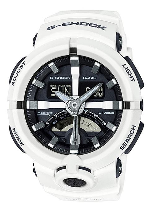 Часы наручные мужские Casio G-Shock, цвет: белый. GA-500-7AGA-500-7AКомбинированные стрелочные + электронные