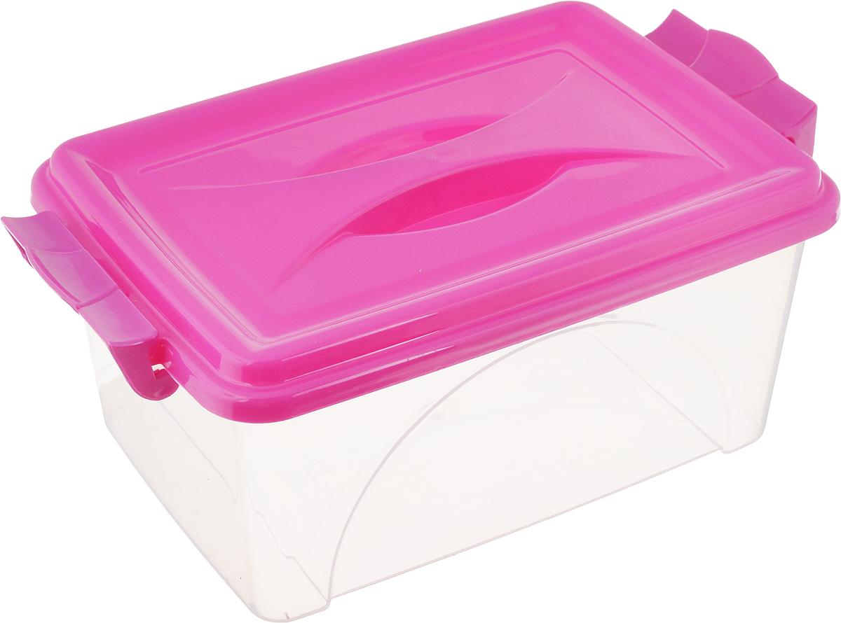 Контейнер Альтернатива, цвет: фуксия, прозрачный, 4,5 лМ419_фуксия, прозрачныйКонтейнер Альтернатива изготовлен из высококачественного пищевого пластика. Изделие оснащено крышкой и ручками, которые плотно закрывают контейнер. Емкость предназначена для хранения различных бытовых вещей и продуктов. Такой контейнер очень функционален и всегда пригодится на кухне. Размер контейнера (с учетом крышки и ручек): 31,5 х 20 х 13,5 см.