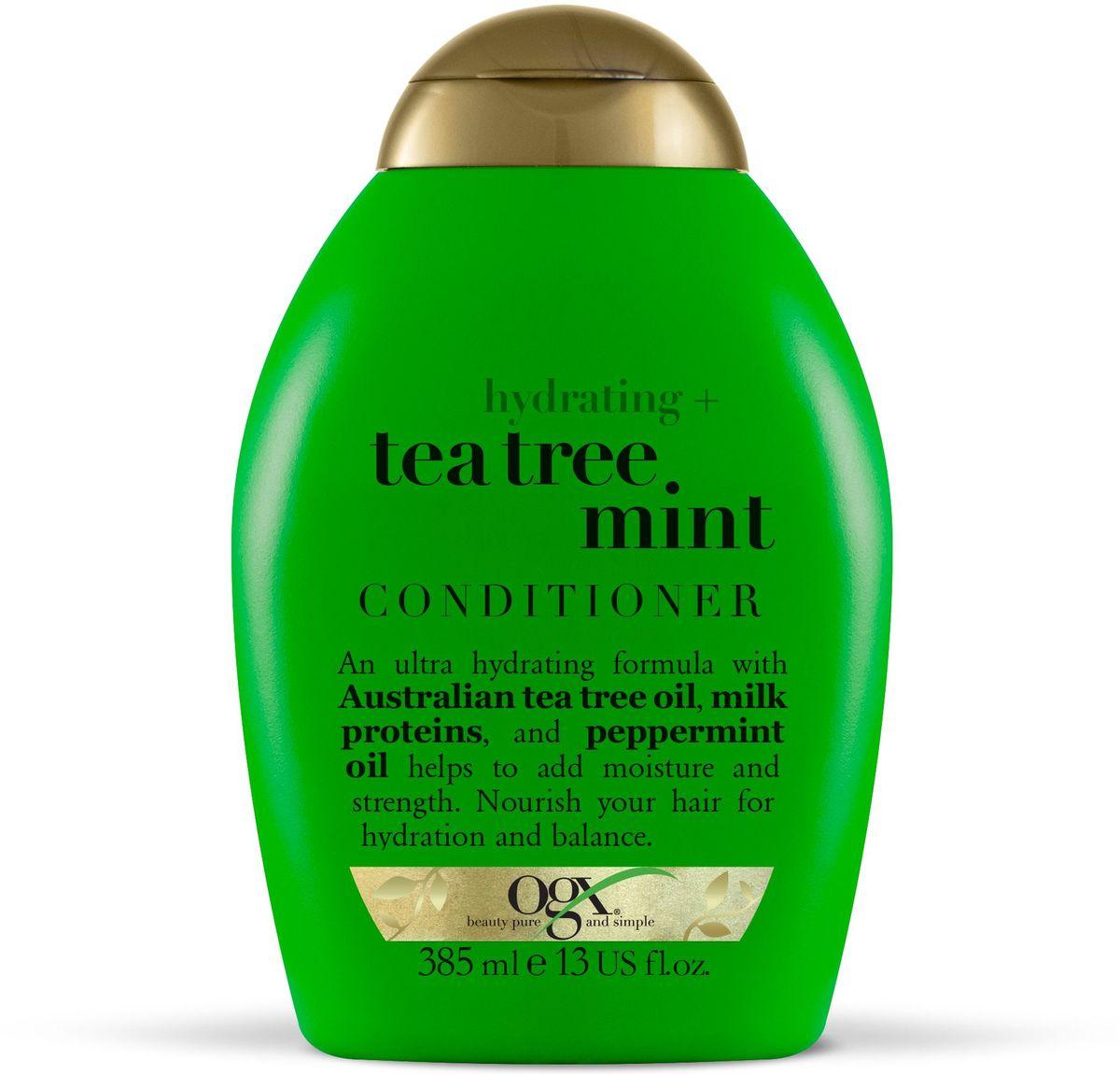OGX Увлажняющий Кондиционер с Маслом чайного дерева и Ментолом, 385 мл.97015Увлажняющий шампунь с маслом чайного дерева и ментолом увлажняет и укрепляет волосы, делая их гладкими и послушными. Помогает поддерживать естественный баланс и наполняют волосы молочным белком.