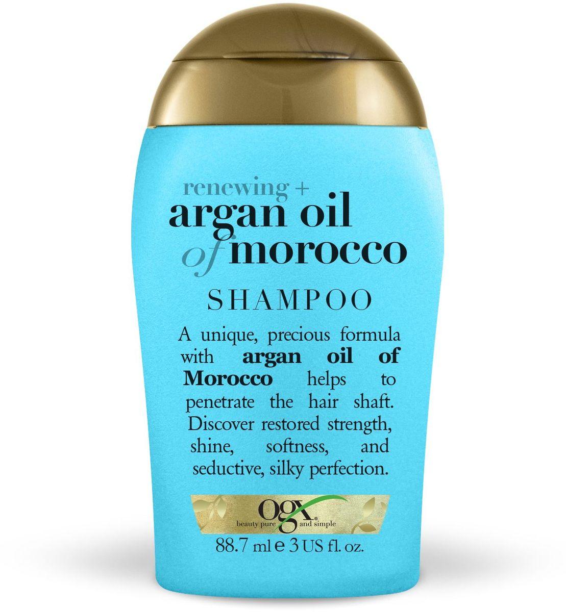 OGX Мини шампунь для восстановления волос с аргановым маслом, 89 мл.97311Шампунь для восстановления волос с аргановым маслом, обогащенный антиоксидантами, способствует обновлению клеточной структуры волос, придает сияния и мягкость.