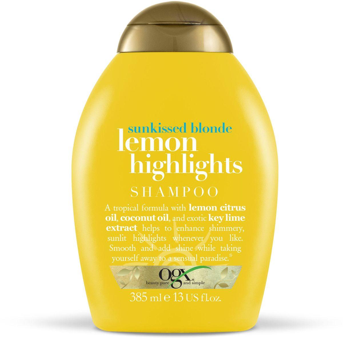 OGX Шампунь для сияния цвета с экстрактом лимона Солнечный блонд, 385 мл.97441Шампунь для сияния цвета с экстрактом лимона – увлажняет и сохраняет влагу изнутри, борется с пушением. Делают цвет более ярким и сияющим. Наполняют волосы силой и жизненной энергией