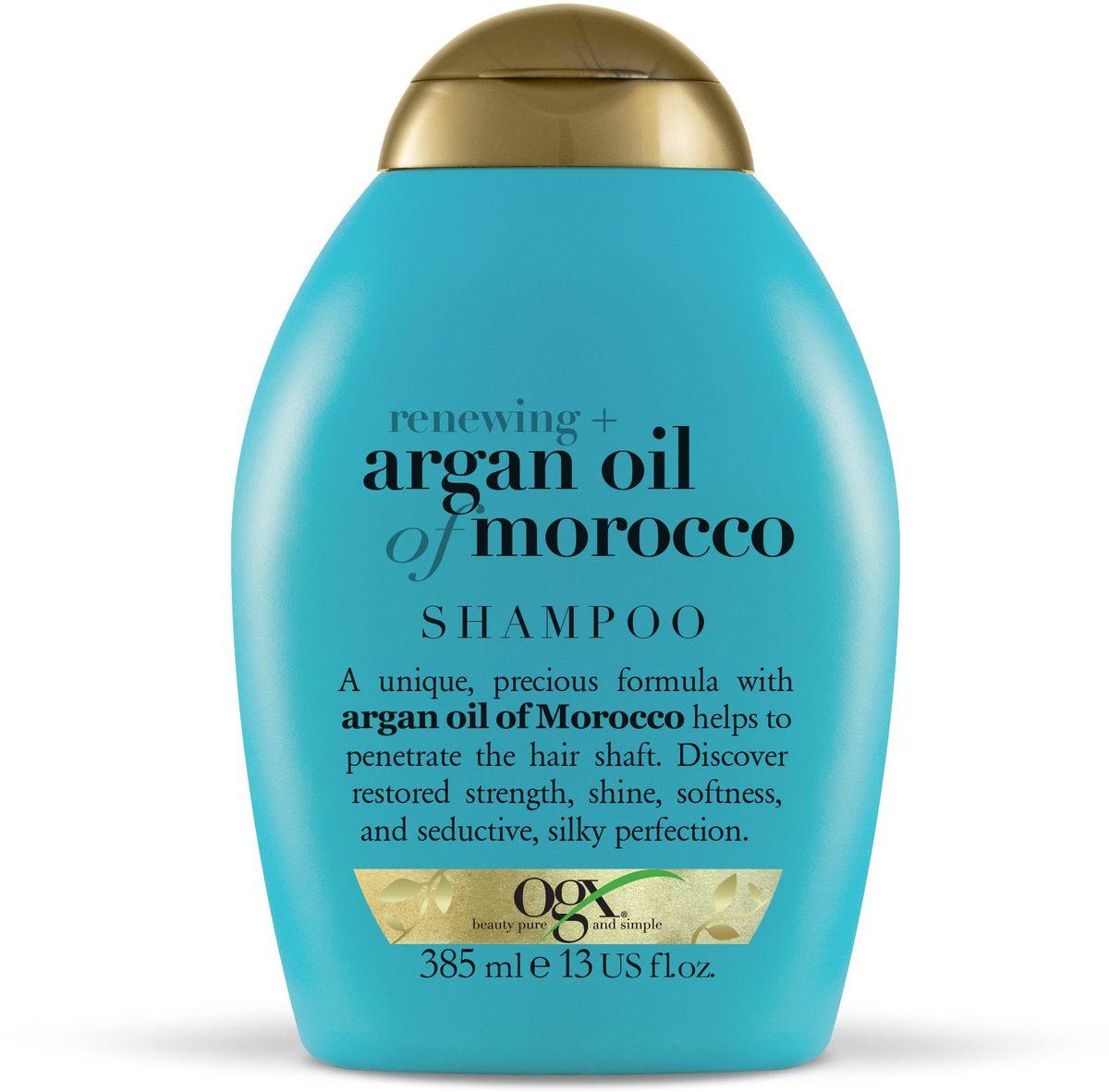 OGX Шампунь для восстановления волос с аргановым маслом, 385 мл.97611Шампунь для восстановления волос с аргановым маслом, обогащенный антиоксидантами, способствует обновлению клеточной структуры волос, придает сияния и мягкость.